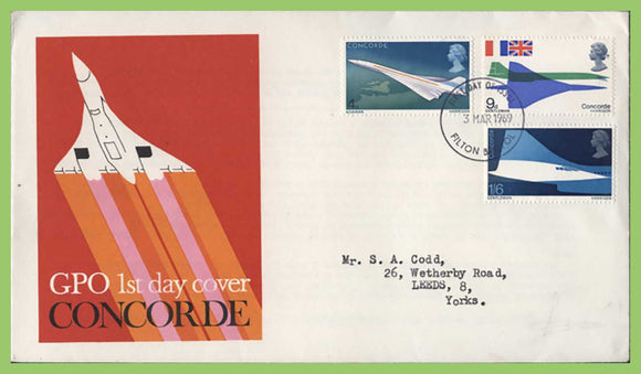 G.B. 1969 Concorde set on GPO First Day Cover, Filton