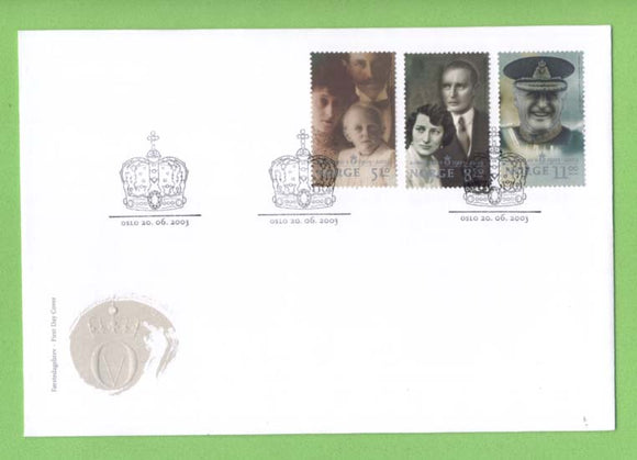 Norway 2003 King Olav set and miniature sheet on two First Day Covers