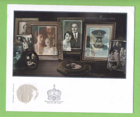 Norway 2003 King Olav miniature sheet on First Day Cover