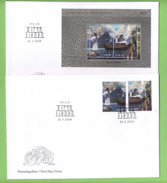 Norway 2004 Nordic Mythology set & miniature sheet on two First Day Covers