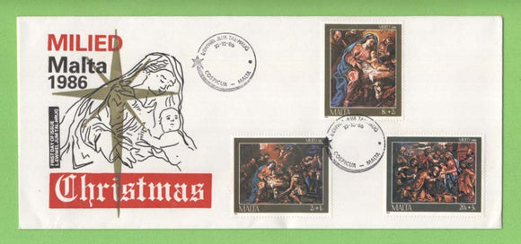 Malta 1986 Christmas set on First Day Cover, Cospicua