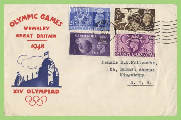 G.B. 1948 Olympic Games set on First Day Cover, Wembley Slogan