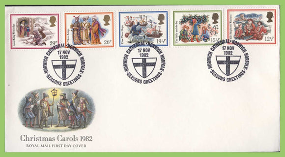 G.B. 1982 Christmas Carols set on u/a Royal Mail First Day Cover, Norwich Norfolk