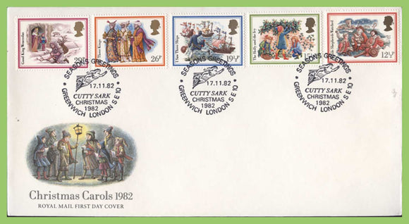 G.B. 1982 Christmas Carols set on u/a Royal Mail First Day Cover, Cutty Sark, Greenwich