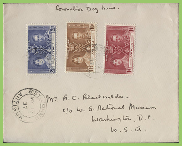 Antigua 1937 KGVI Coronation set on First Day Cover