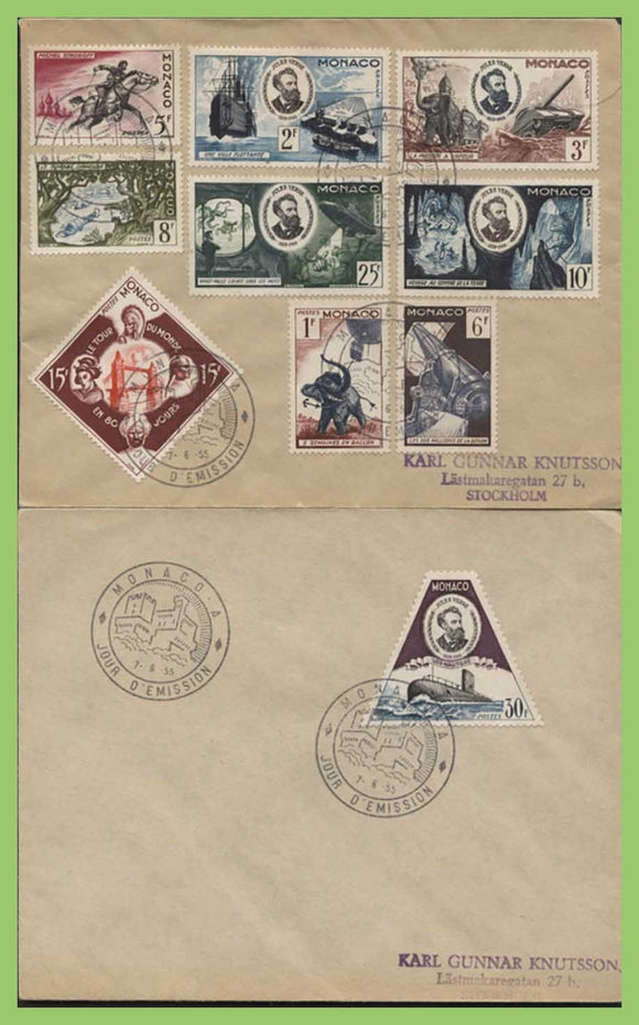 Monaco 1955 !f to 30f 50th Death Anniv of Jules Verne on two First Day Covers