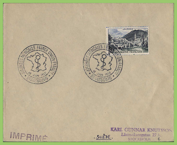 France 1955 6f Lourdes on cover with 'Medical Union' special cancel