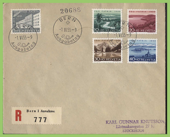 Switzerland 1955 Pro Patria set on registered First Day Cover