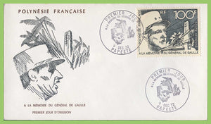 French Polynesia 1972 100f Air. Completion of De Gaulle Monument First Day Cover