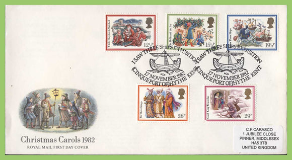 G.B. 1982 Christmas Carols set on Royal Mail First Day Cover, Hythe Kent