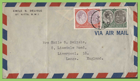St Kitts & Nevis 1951 KGVI 3d and 1/- on cover to England