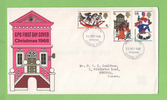 G.B. 1968 Christmas set on GPO First Day Cover, Bethlehem