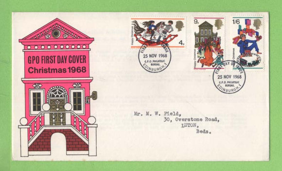 G.B. 1968 Christmas set on GPO First Day Cover, Bureau
