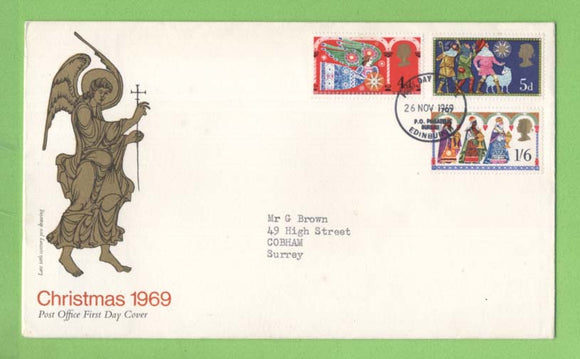 G.B. 1969 Christmas set on Post Office First Day Cover, Bureau