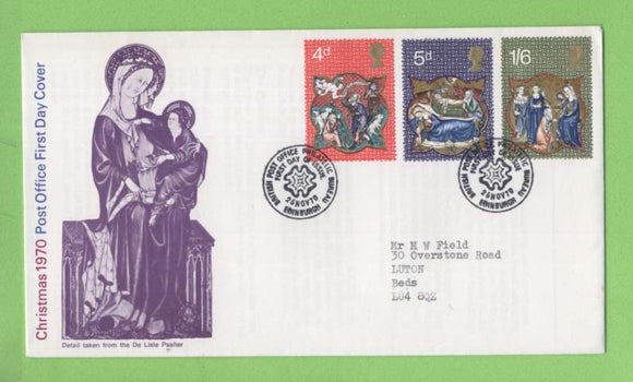 G.B. 1970 Christmas set on Post Office First Day Cover, Bureau