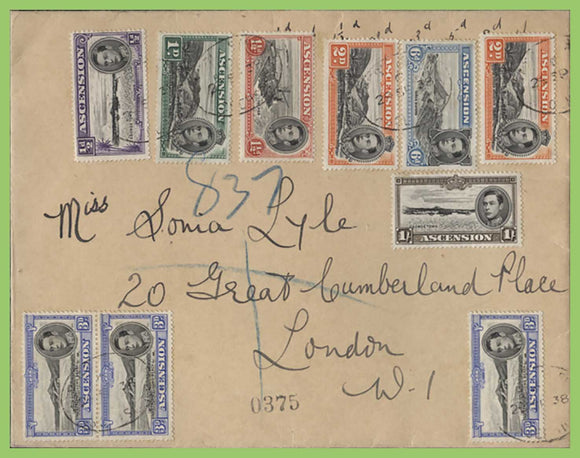 Ascension 1938 KGV multi franked (10 stamps) registered cover to England