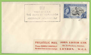 Ascension 1957 QEII 3d definitive on cover, 'Visit of HRH Duke of Edinburgh' cachet