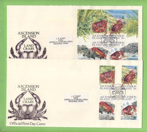 Ascension 1989 Land Crabs set and m/s on two First Day Covers