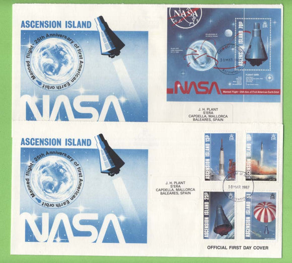Ascension 1987 25th Anniv of First American Manned Earth Orbit set & m/s on two First Day Covers
