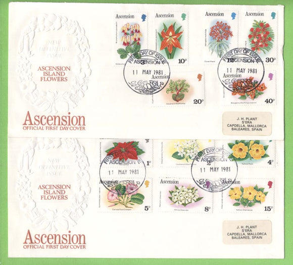 Ascension 1981 Flowers definitive set on three First Day Covers