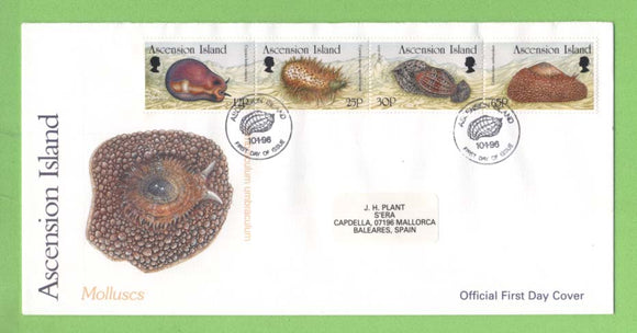 Ascension 1996 Molluscs set on First Day Cover