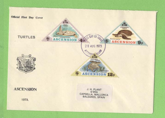 Ascension 1973 Turtles set (Triangle stamps) on First Day Cover