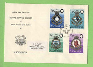 Ascension 1972 Royal Navy Crests (4th series) set on First Day Cover
