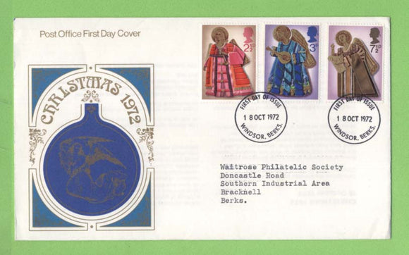 G.B. 1972 Christmas set on Post Office First Day Cover, Windsor