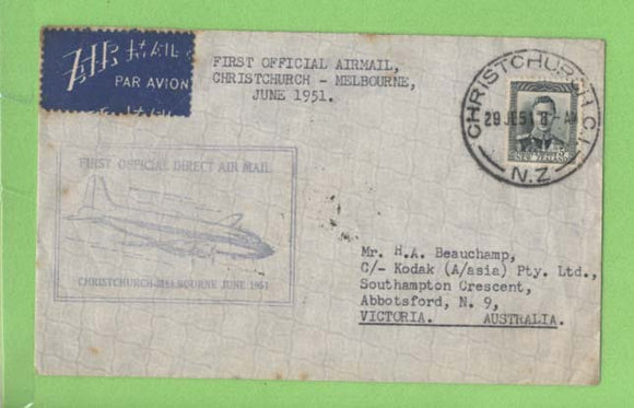 New Zealand 1951 TEAL First Official Airmail, Christchurch - Melbourne