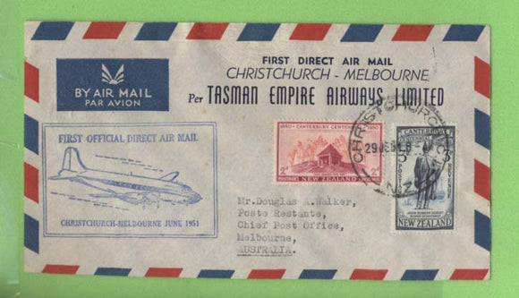 New Zealand 1951 TEAL First Direct Airmail, Christchurch - Melbourne