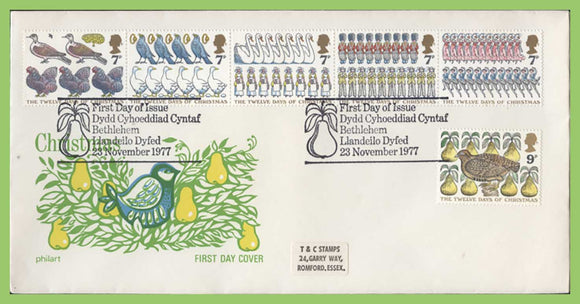 G.B. 1977 Christmas set on Philart First Day Cover, Bethlehem