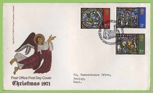 G.B. 1971 Christmas set on Post Office First Day Cover, Canterbury