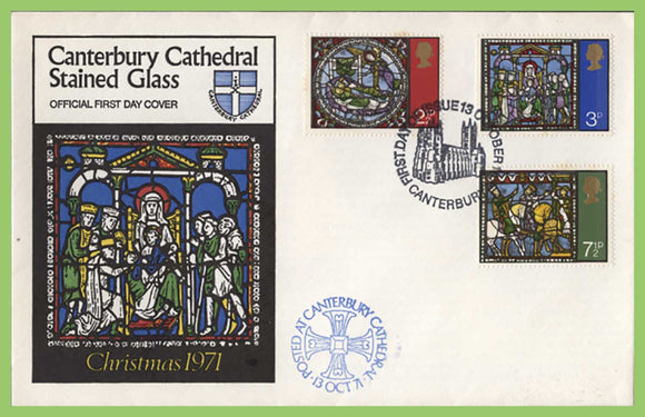 G.B. 1971 Christmas set on official Canterbury Cathedral First Day Cover, Canterbury