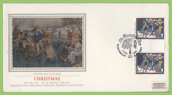 G.B. 1986 Christmas Glastonbury Thorn G/P on PPS silk First Day Cover, Glastonbury