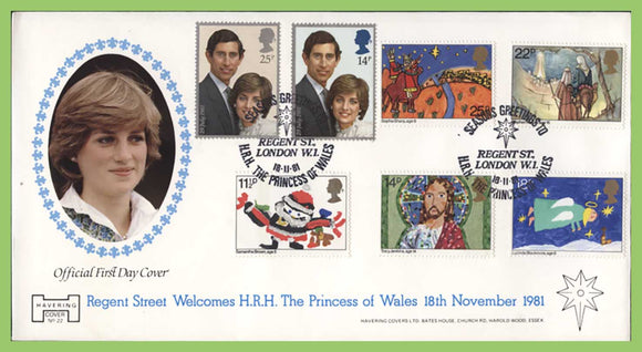 G.B. 1981 Chirstmas set (+Royal Wedding) Havering First Day Cover, Regent Street