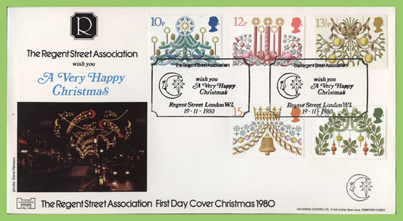 G.B. 1980 Christmas set on official Havering First Day Cover, Regent Street