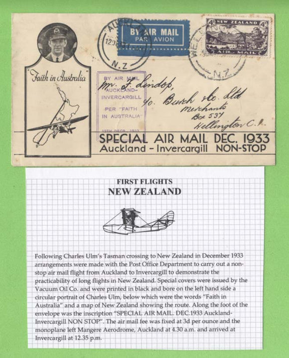 New Zealand 1933 Special Air Mail Auckland - Invercargill cachet cover