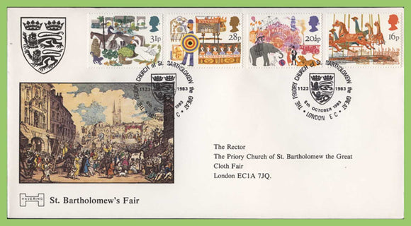 G.B. 1983 British Fairs official Havering First Day Cover, London EC, label
