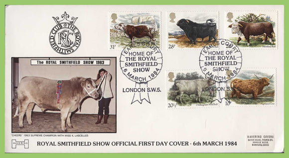 G.B. 1984 British Cattle official Havering First Day Cover,  Earls Court London