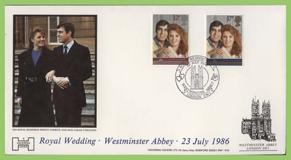 G.B. 1986 Royal Wedding Havering First Day Cover, Westminster Abbey