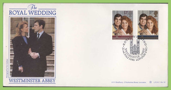 G.B. 1986 Royal Wedding Havering First Day Cover, Westminster Abbey (circle)