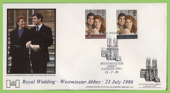G.B. 1986 Royal Wedding Havering First Day Cover, Westminster Abbey (building)