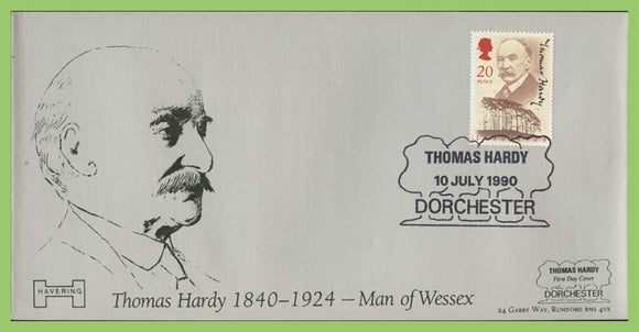 G.B. 1990 Thomas Hardy official Havering First Day Cover,  Dorchester + 9p Oak Tree