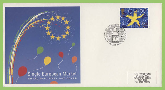 G.B. 1992 Single European Market Royal Mail First Day Cover, Westminster. Label