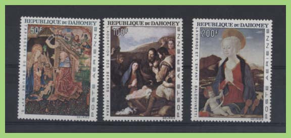 Dahomey 1966 Air. Christmas paintings set mint hinged