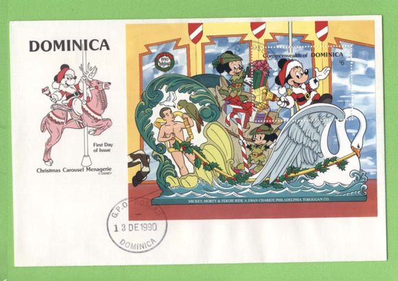 Dominica 1990 Disney Christmas Carousel, mini sheet on First Day Cover
