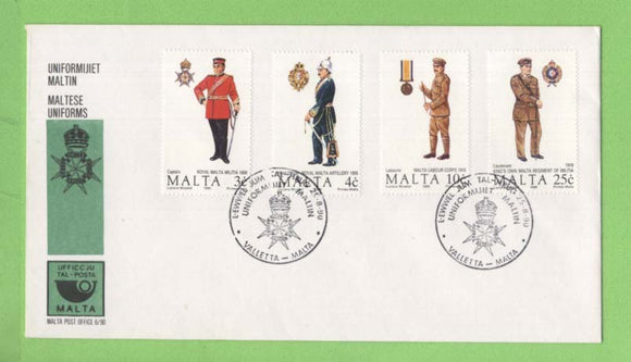 Malta 1990 Military Uniforms set First Day Cover, Valetta