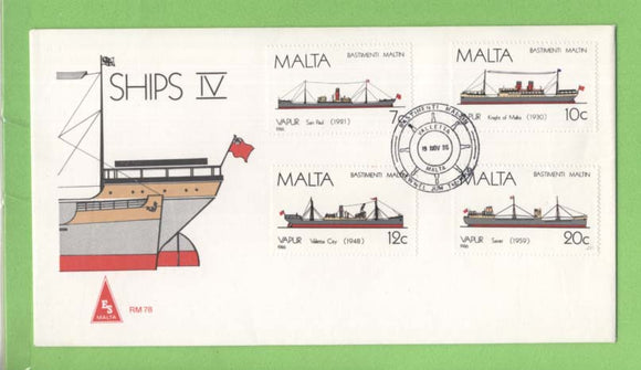 Malta 1986 Maltese Ships (4th series) set on ES First Day Cover, Valetta