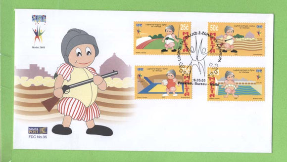 Malta 2003 Small European States Games set on First Day Cover, Bureau