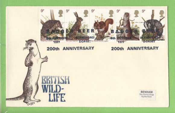 G.B. 1977 British Wildlife set on First Day Cover, Badger Beer, Blandford Dorset